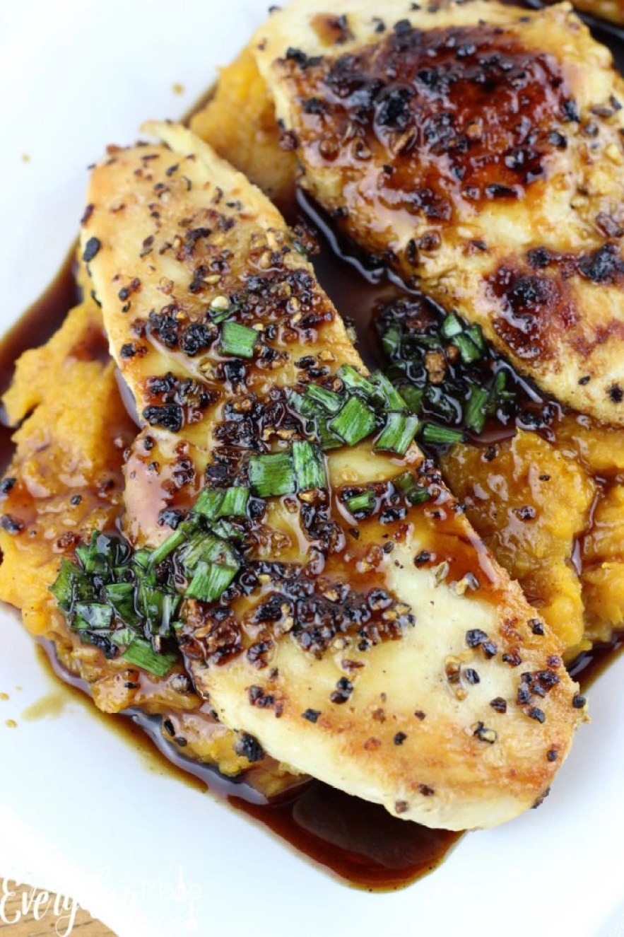 Maple-Glazed Chicken with Butternut Squash is a quick dinner recipe that has the flavors of fall and winter.   EverydayMadeFresh.com
