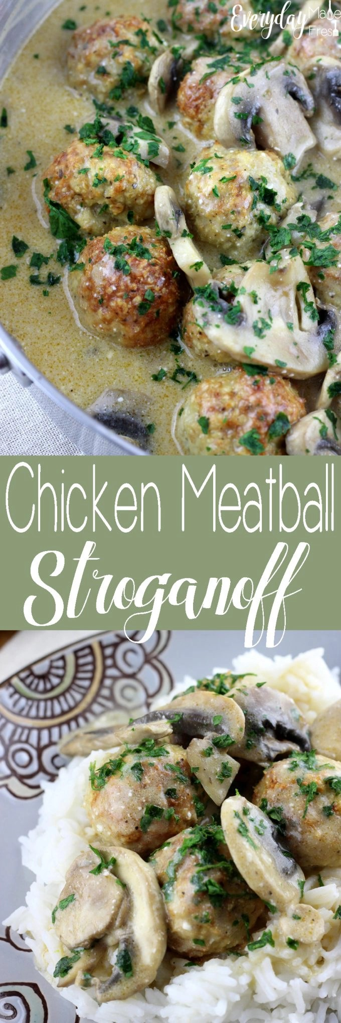 Family pleasing Chicken Meatball Stroganoff is a great twist on a classic! | EverydayMadeFresh.com