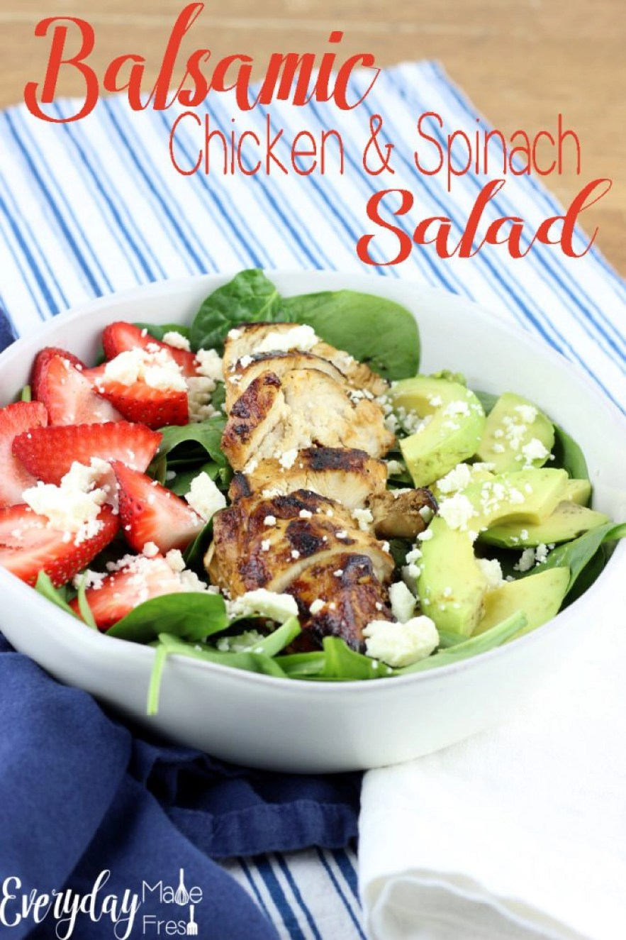 This healthy Balsamic Chicken & Spinach Salad is made with a simple homemade dressing that's mixed together in no time. The feta and strawberries pair so perfectly with it. | EverydayMadeFresh.com