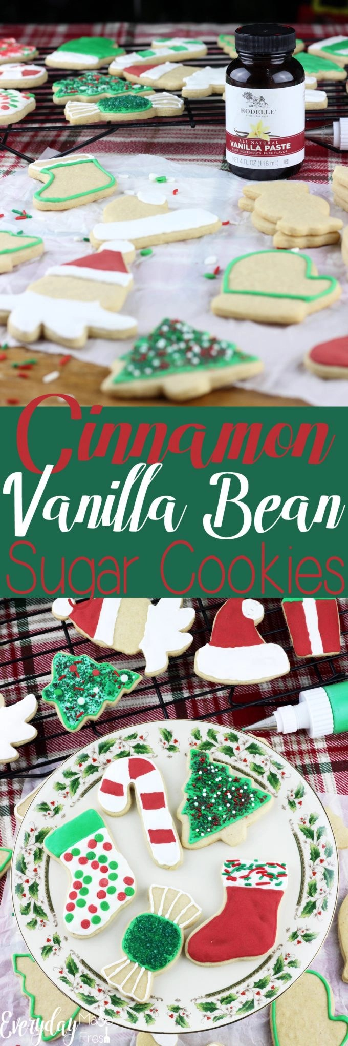 A dash of cinnamon and vanilla bean paste make these Cinnamon Vanilla Bean Sugar Cookies perfect. Well that, and that this a no chill sugar cookie dough!| EverydayMadeFresh.com