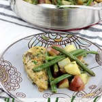 This Honey Mustard Chicken and Vegetables is made in one pan, with a sweet and tangy sauce that pairs perfectly with the green beans and potatoes. It's a family pleasing meal that makes for the perfect complete meal. | EverydayMadeFresh.com