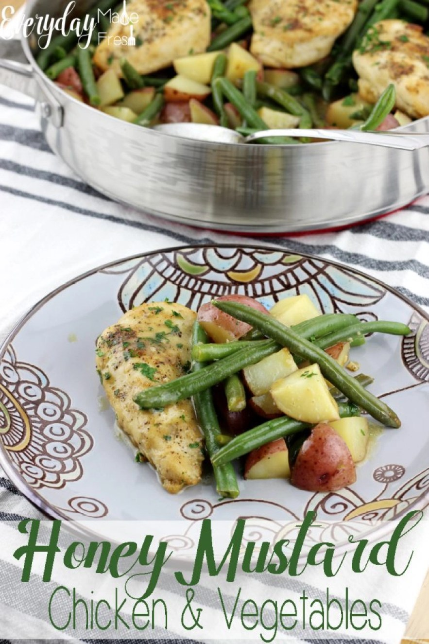 This Honey Mustard Chicken and Vegetables is made in one pan, with a sweet and tangy sauce that pairs perfectly with the green beans and potatoes. It's a family pleasing meal that makes for the perfect complete meal.   EverydayMadeFresh.com