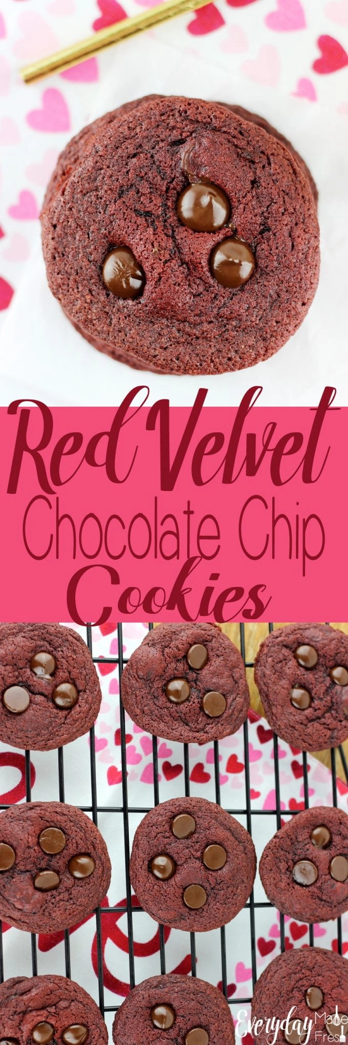 Just in time for Valentine's Day, these Red Velvet Chocolate Chip Cookies are rich, and loaded with dark chocolate chips! | EverydayMadeFresh.com