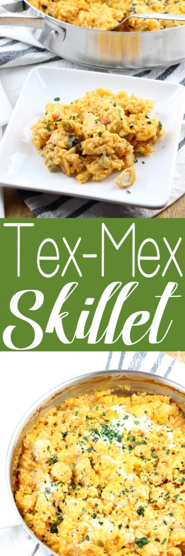 An easy dinner made all in one skillet. This Tex-Mex Skillet is loaded with chicken, rice, all the spices, and queso cheese! | EverdayMadeFresh.com