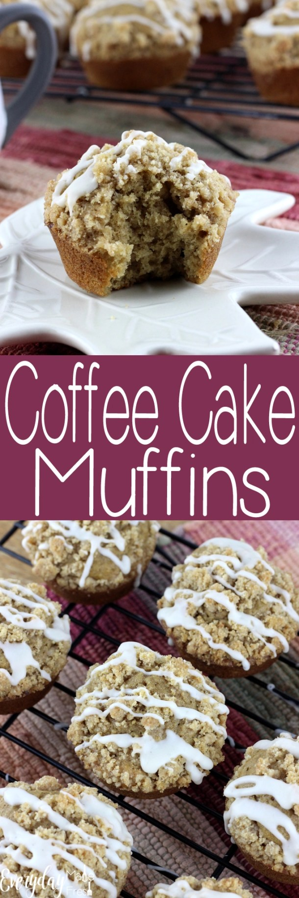 Hints of cinnamon fill these Coffee Cake Muffins with a great flavor, while the streusel topping make for an excellent crunch, and finished off with a drizzle of vanilla bean icing! | EverydayMadeFresh.com