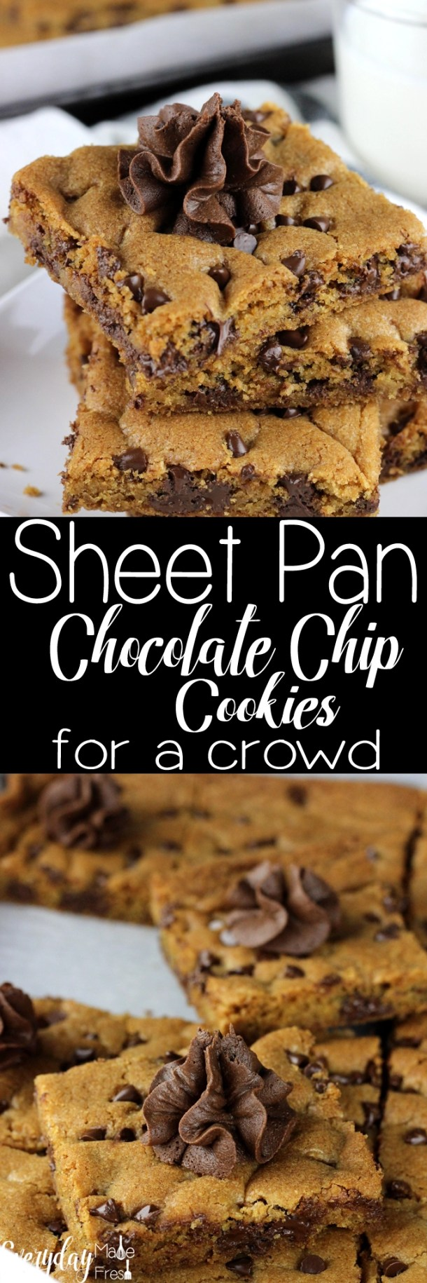 Feeding warm cookies to a crowd can sometimes take a while since you are limited to how many you can bake at one time. However, with these Sheet Pan Chocolate Chip Cookies for a Crowd, we've eliminated that problem. 24 warm cookies all on one pan! | EverydayMadeFresh.com