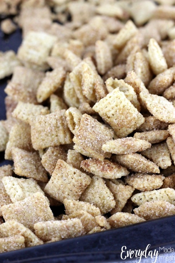 Cinnamon Sugar Chex Mix is one of the tastiest snacks. Since it's made in the microwave, it's quick and easy! | EverydayMadeFresh.com