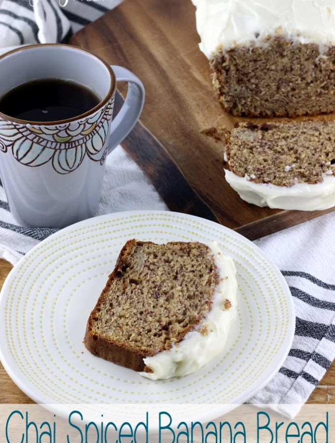 This Chai Spiced Banana Bread is perfect for breakfast, afternoon snacking, or just when you feel like it! Banana bread just got a fall makeover with the addition of warm spices and a perfect ribbon of cream cheese spread on top. | EverydayMadeFresh.com