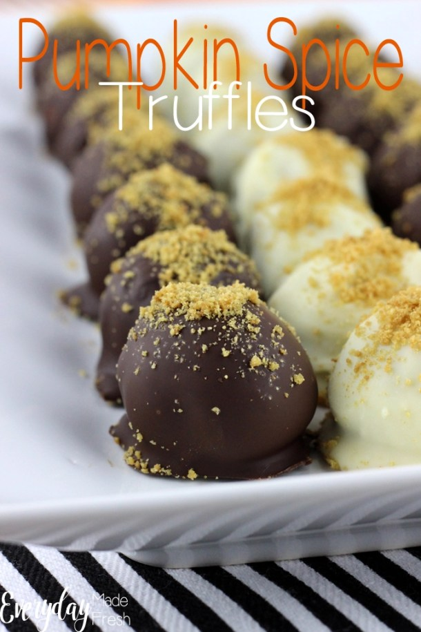 These Pumpkin Spice Truffles have creamy sweet centers enveloped inside of a dark chocolate and white chocolate candy coated shell. You won't believe how easy these are to make! | EverydayMadeFresh.com