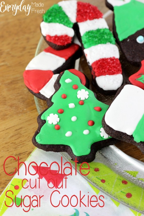 Chocolate Cut Out Sugar Cookies that hold their shape when baking, and that taste like a decadent brownie! These are perfect for any holiday or occasion. | EverydayMadeFresh.com