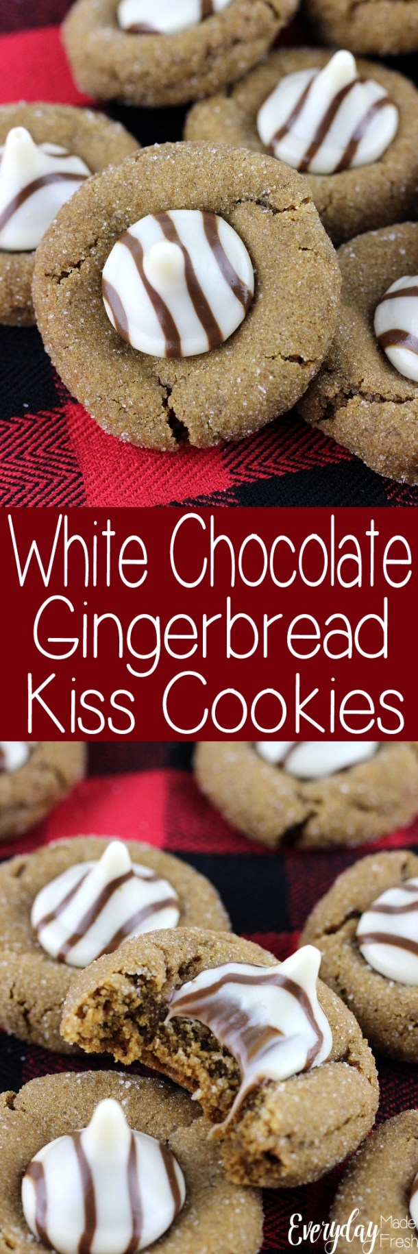 These White Chocolate Gingerbread Kiss Cookies are the cookies for those that love ginger! The white chocolate kiss candies are the perfect finishing touch!  | EverydayMadeFresh.com
