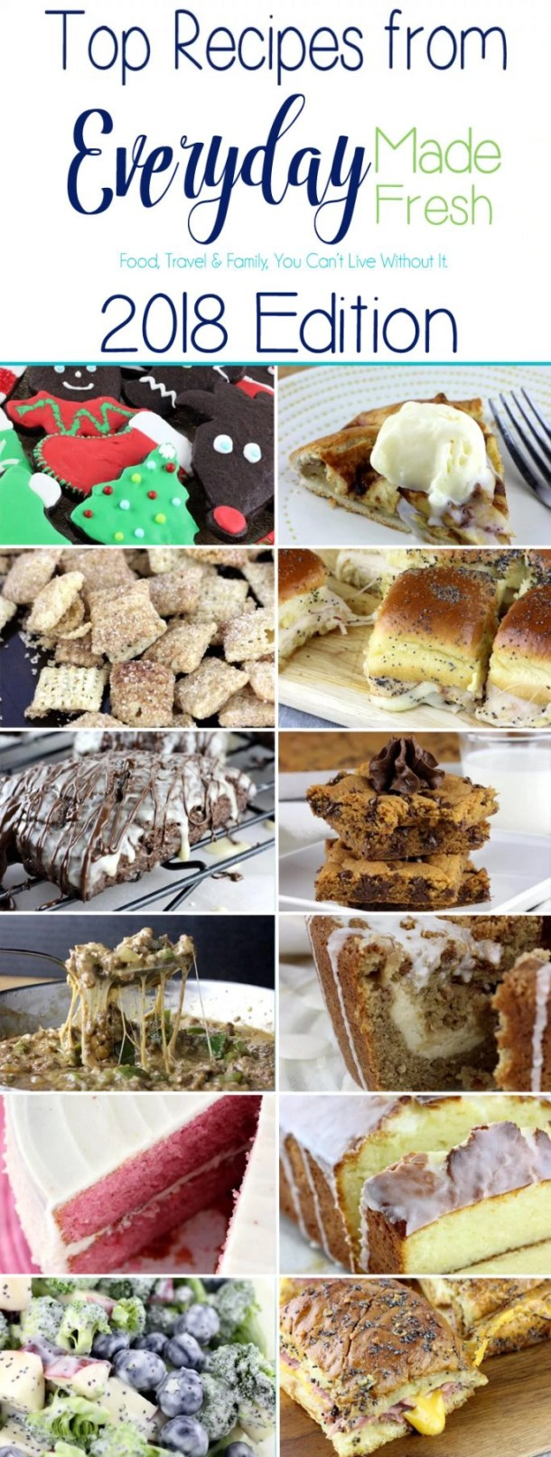 These are the Top Recipes from Everyday Made Fresh 2018 Edition – There were 85 recipes shared in 2018, and these had the most views!   EverydayMadeFresh.com