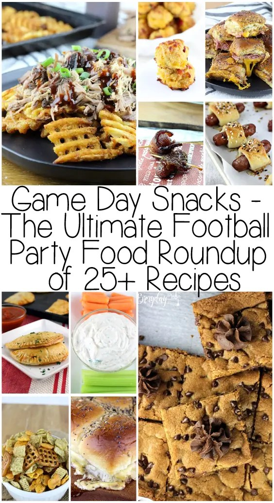 This Game Day Snacks - The Ultimate Football Party Food Roundup of 25+ Recipes is broken into 5 categories, from sweet, sliders, & dips to crunchy and crowd pleasers. Your guests will love all of these options and so will you! | EverydayMadeFresh.com