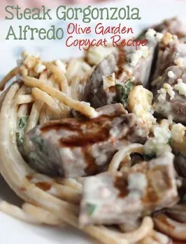 Everything you know and love about the original- This Steak Gorgonzola Alfredo - Olive Garden's Copycat is easy to recreate at home. This recipe features chunks of steak in a creamy gorgonzola sauce with fresh spinach, topped with a balsamic glaze that is out of this world delicious! | EverydayMadeFresh.com