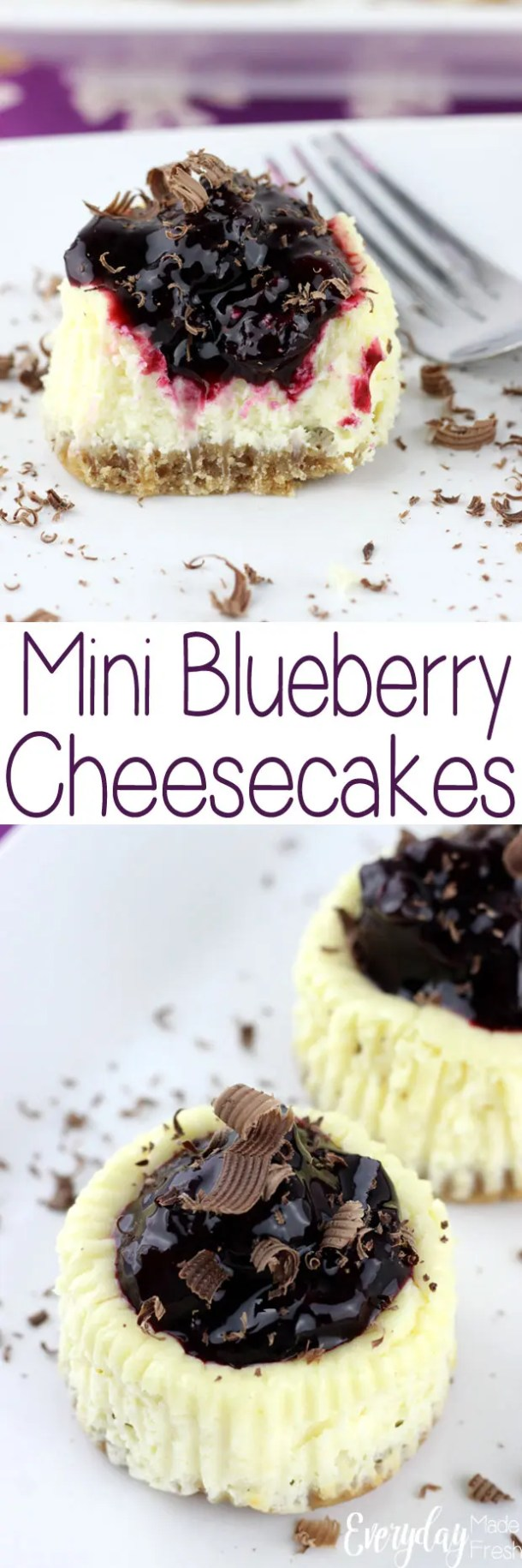 These Mini Blueberry Cheesecakes are made with Greek yogurt and low fat cream cheese, for a healthier choice. You won't even be able to taste the difference! | EverydayMadeFresh.com