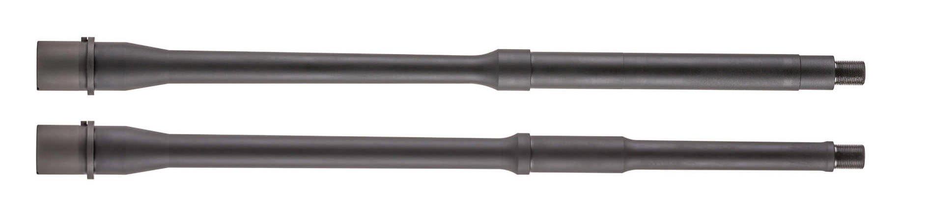 "A comparison of a 16"" Government Profile barrel and a 16"" Lightweight Profile barrel produced by Daniel Defense"