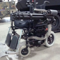 Wheel Chair Battery Coleman Folding Chairs With Side Table Minigun Equipped Wheelchair