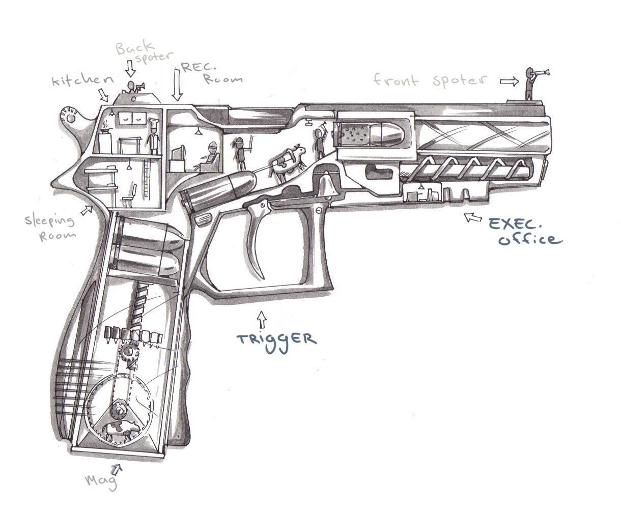 How Guns Actually Work Cutaway Sketch