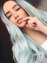 pastel green ombre wavy synthetic