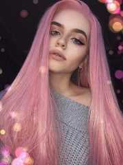 long pink straight synthetic