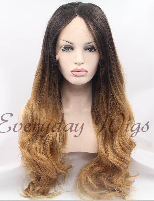 Dark Honey Blonde Ombre Wavy Synthetic Lace Front Wig Edw1013