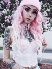 pink ombre long curly synthetic