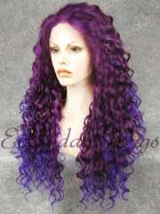 purple ombre blue long curly