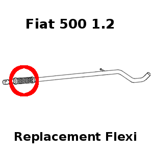 Fiat 500 1.2 2007-2015 Exhaust Repair Flexi Flex
