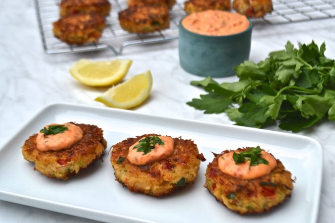 Crab Cakes with Roasted Red Pepper Mayonnaise