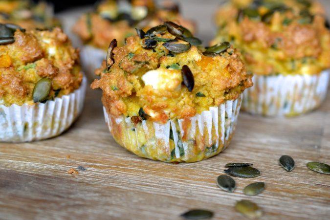 Butternut Squash, Spinach & Feta Muffins