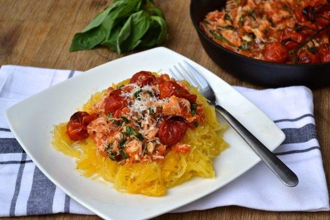 Crab, Roasted Tomato & Basil on Spaghetti Squash