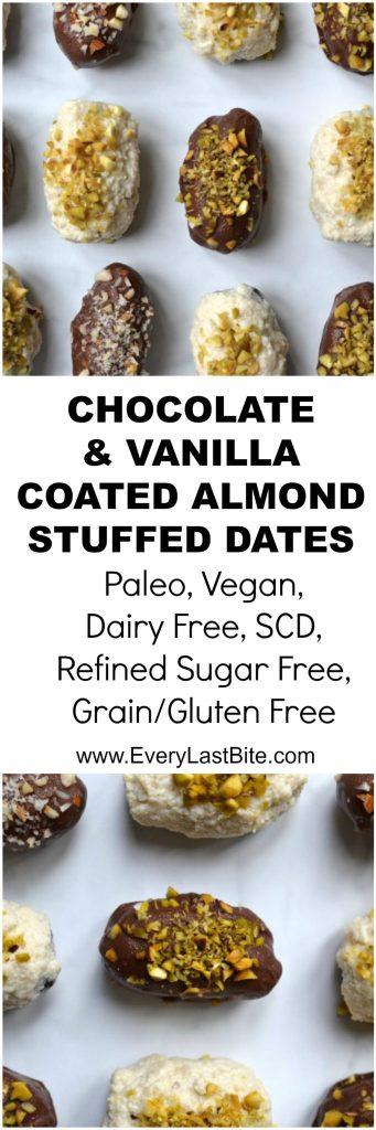 Vegan Chocolate & Vanilla Covered Stuffed Dates