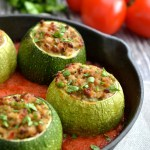 Zucchini Stuffed with Pork & Tomato Sauce