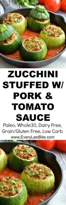 Zucchini Stuffed with Pork & Tomato Sauce