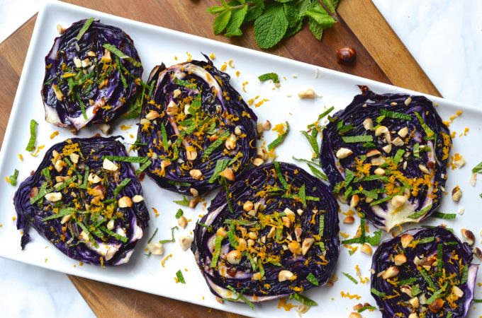 Roasted Red Cabbage with Mint, Hazelnuts & Balsamic Orange Glaze