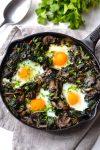 Kale, Spinach & Mushroom Baked Eggs
