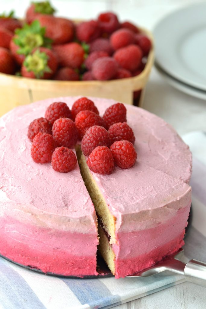 Lemon Layered Cake with Strawberry and Ombre Icing