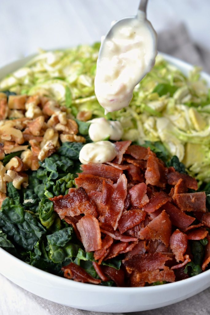 Kale & Brussel Sprout Salad with Creamy Lemon Dressing