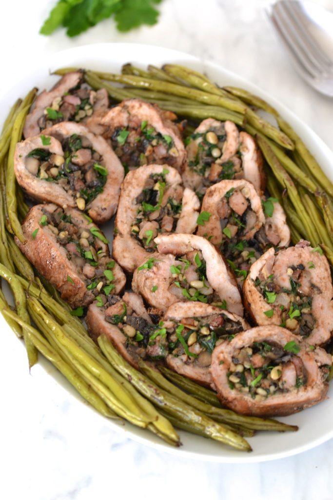 Mushroom & Bacon Stuffed Pork Tenderloin