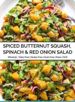 Spiced Butternut Squash, Spinach & Red Onion Salad