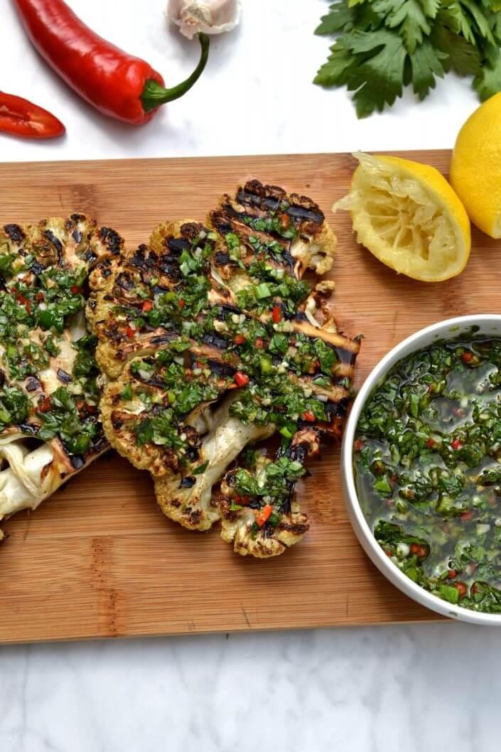 BBQ Cauliflower Steak with Chimichurri