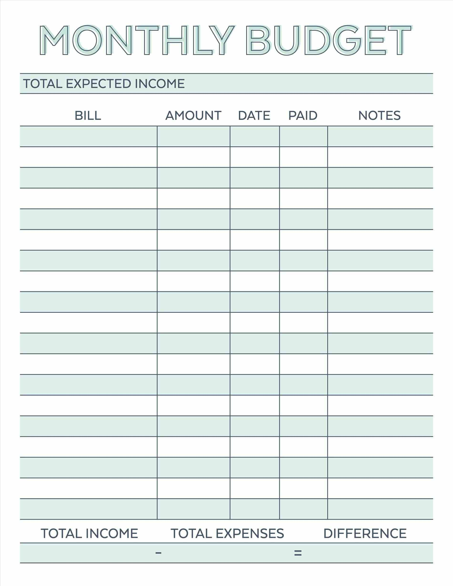 7 Simple Monthly Budget Template