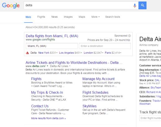 Google Flights Brand SERP - Delta - EveryMundo