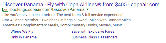 Copa Airlines' Dynamic Search Ad