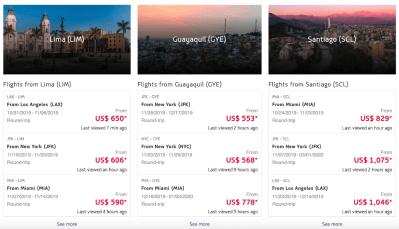 Popular destinations columns