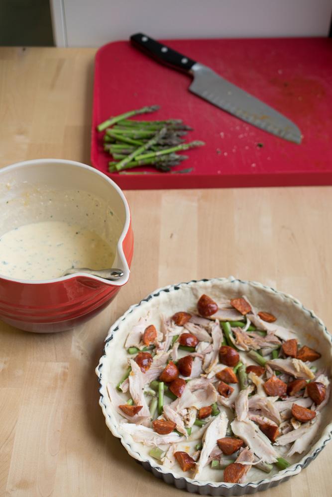 chicken, chorizo & asparagus quiche