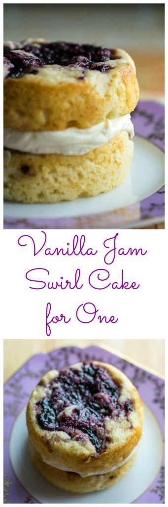 vanilla jam swirl cake for one