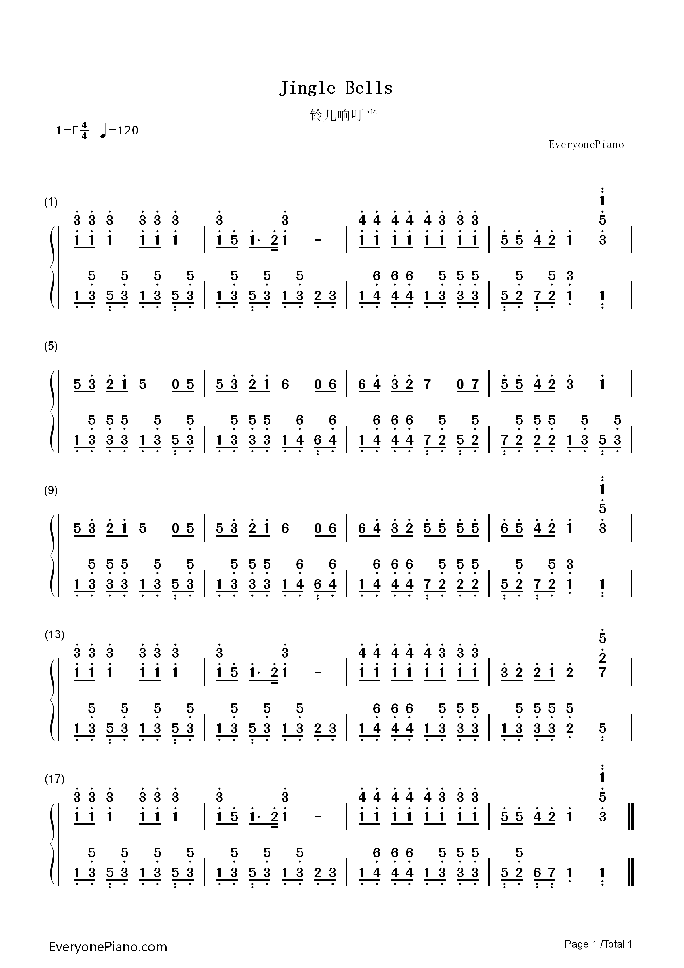 Jingle Bells Piano Sheet Music With Numbers