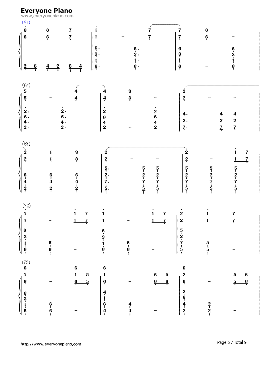 The Elder Scrolls V: Skyrim OST Numbered Musical Notation