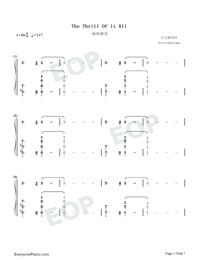 The Thrill of It All-Sam Smith Numbered Musical Notation